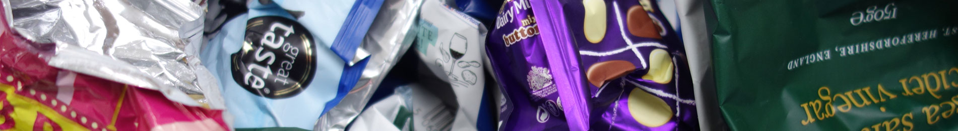 Crisp and Chocolate Packets for Recycling
